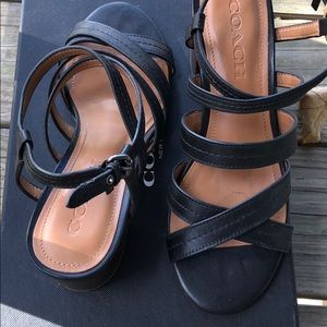 Coach Terri sandals 6.5 black matte calf